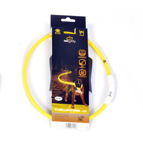 SEECURITY RING FLASH LIGHT USB NYLON 35cm yellow