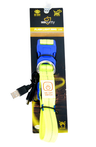 SEECURITY COLLAR NYLON USB FLASH LIGHT 30-40cm/2,5cm neon yellow