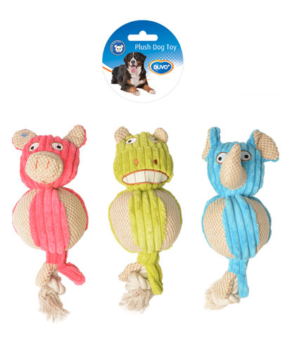 DOGTOY PLUSH TUMMY WITH ROPE 28x10CM blue/green/pink