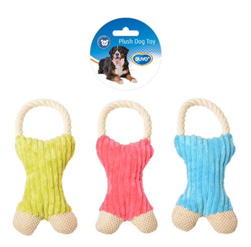 DOGTOY PLUSH BONE SINGLE RING 27x12CM blue/green/pink