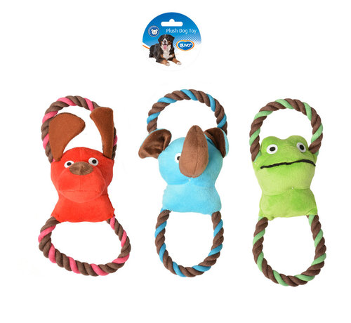 DOGTOY PLUSH ANIMAL DOUBLE RING 27,5x10CM blue/green/red