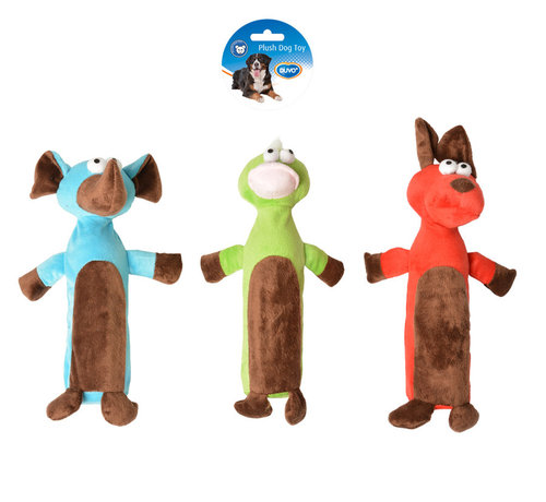 DOGTOY PLUSH ROLL 29,5x9CM blue/green/red