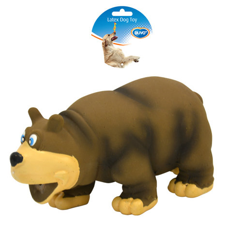 DOGTOY LATEX SQUAWKY STUFFED BEAR 17,5CM brown