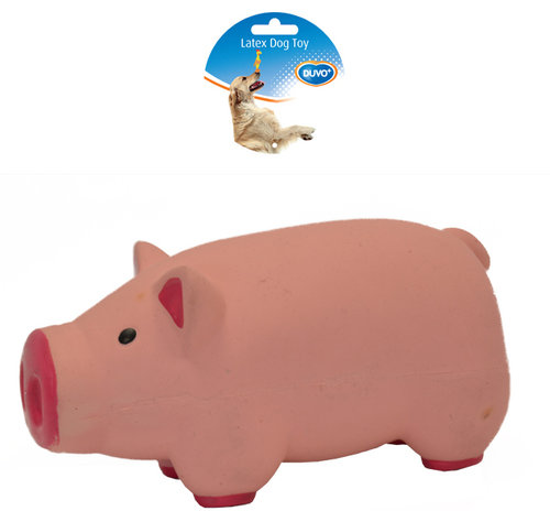 DOGTOY LATEX STUFFED PIG 17,5CM pink