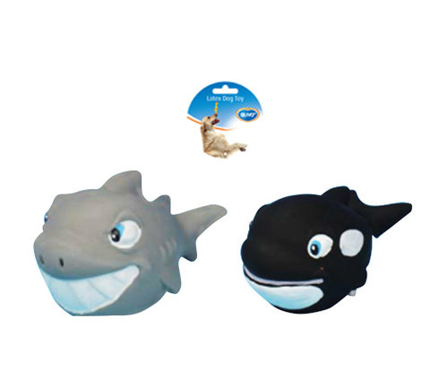 DOGTOY LATEX SQUAWKY SHARK AND WHALE 12CM mixed colors