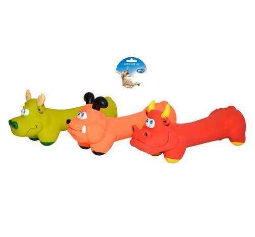DOGTOY LATEX SQUAWKY BONE ANIMALS ASSORTI 18CM mixed colors