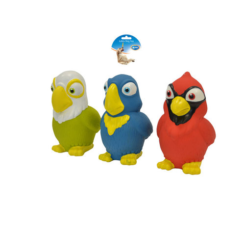 DOGTOY LATEX SQUAWKY BIRDS ASSORTI 11,5CM mixed colors