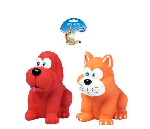 DOGTOY LATEX SQUAWKY DOG AND CAT 10,5CM mixed colors