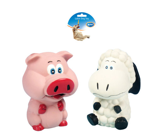 DOGTOY LATEX SQUAWKY PIG AND SHEEP 11,5CM mixed colors