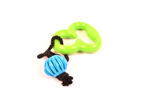 DOGTOY TPR FLOATING OCTOPUS WITH ROPE GREEN green