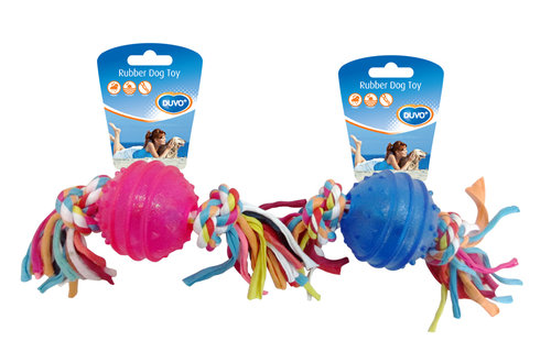 DOGTOY TPR BALL WITH ROPE 6,3CM blue/pink
