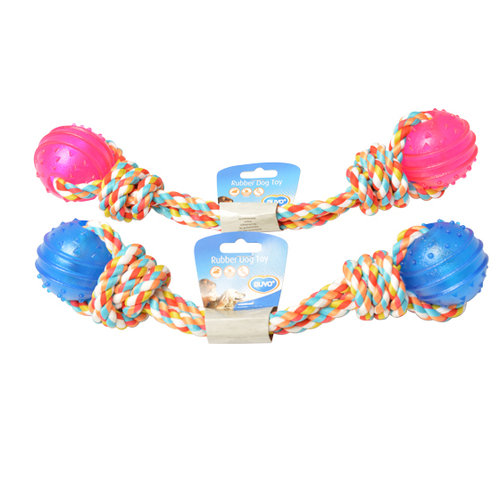 DOGTOY TPR 2 BALL WITH ROPE 43CM blue/pink