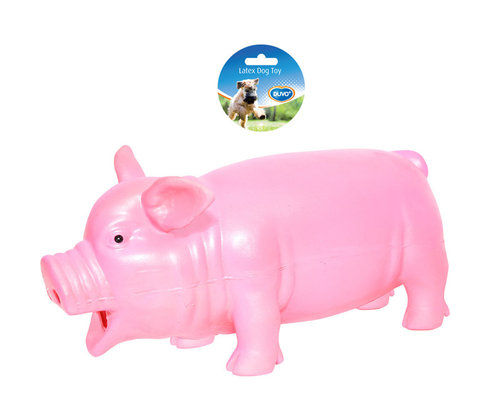 DOGTOY LATEX GRUNTING PIG SMALL 23CM pink