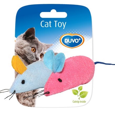 CATTOY ASSORTMENT OF MICE 2PCS 6x5x3CM blue/pink
