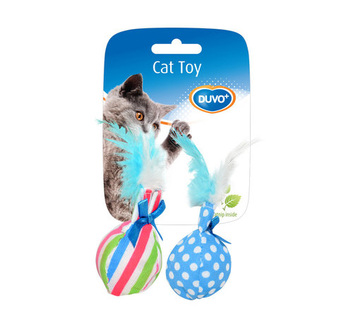 CATTOY ASSORTMENT BALLS WITH FEATHER 14x8x4CM mixed colors