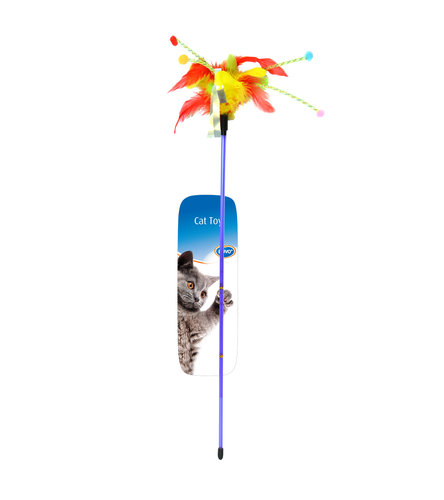 CATTOY ASSORTMENT PLAYING ROD WITH FEATHERS 62x3x1,5CM mixed colors