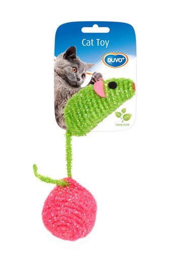 CATTOY ASSORTMENT MOUSE AND BALL NYLON 10x4x4CM green/pink