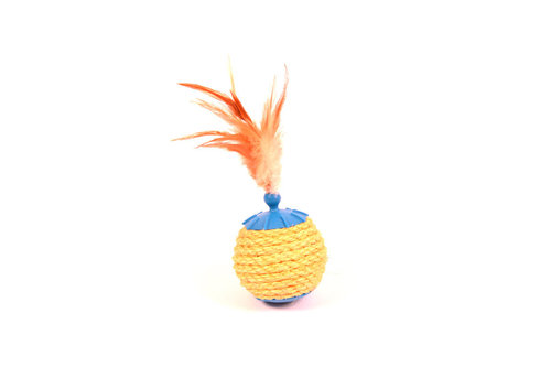 CATTOY CAT TREAT BALL WITH SISAL BLUE blue