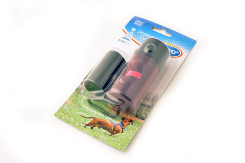 DOG WASTE BAGS DISPENSER LAMP ON BLISTER 2x 20PCS mixed colors