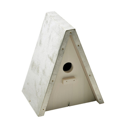 TIT NEST BOX TRIANGULAR GALVA ROOF 20x16x23,5CM white cottage