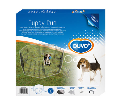 PUPPY RUN WITH DOOR & NET & HOOKS 60x60CM 8-DELIG black