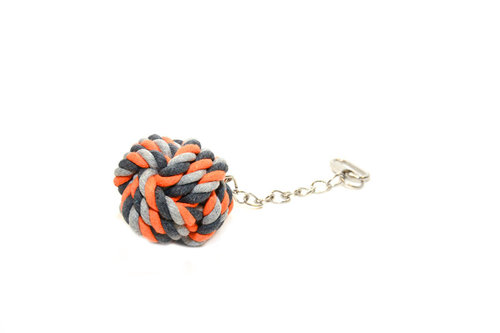 BIRDTOY TUG TOY KNOTTED BALL + CHAIN 23CM orange
