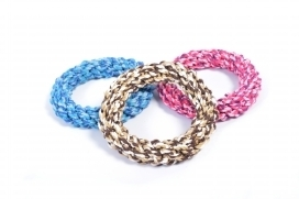 DOGTOY TUG TOY KNOTTED ROPE RING MIX COL. L - 19CM