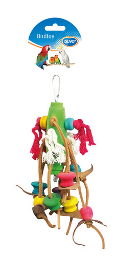 BIRDTOY Rope with colorful cubes & leather 23CM