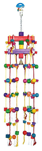 BIRDTOY Carrousel rope with colorful cubes & bell 38CM
