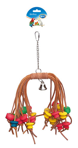 BIRDTOY Colorful rasta with leather & bell 38CM