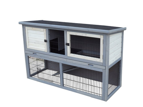 WOODLAND RABBIT HUTCH POLLUX LARGE 136x50x85 CM grey