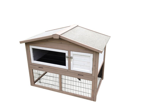 WOODLAND RABBIT HUTCH GIPSY COTTAGE 123x76x96CM taupe