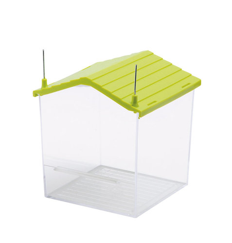BATH HOUSE WITH METAL BRACKETS 10x10x12CM transparent