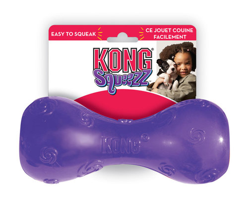 KONG SQUEEZZ DUMBBELL S red/green/purple