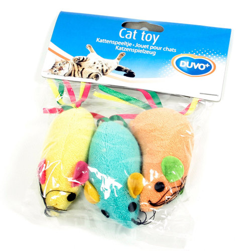 CATTOY TERRY MOUSE WITH RIBBON TAIL 3PCS